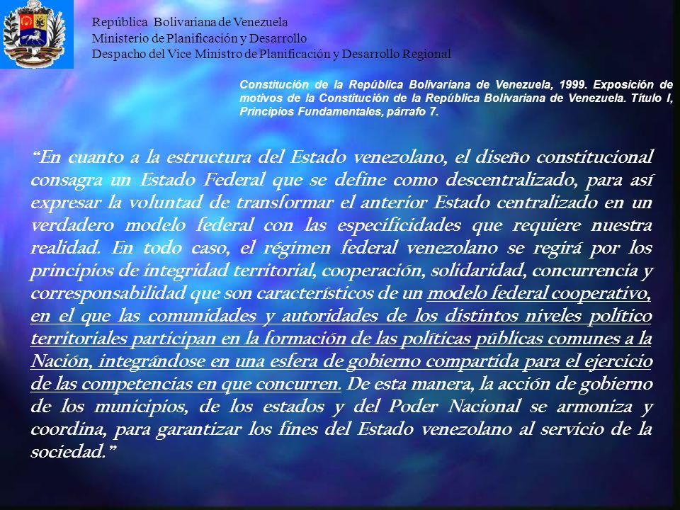 República Bolivariana de Venezuela Ministerio de Planificación y Desarrollo Despacho del Vice Ministro de Planificación y Desarrollo Regional En cuant