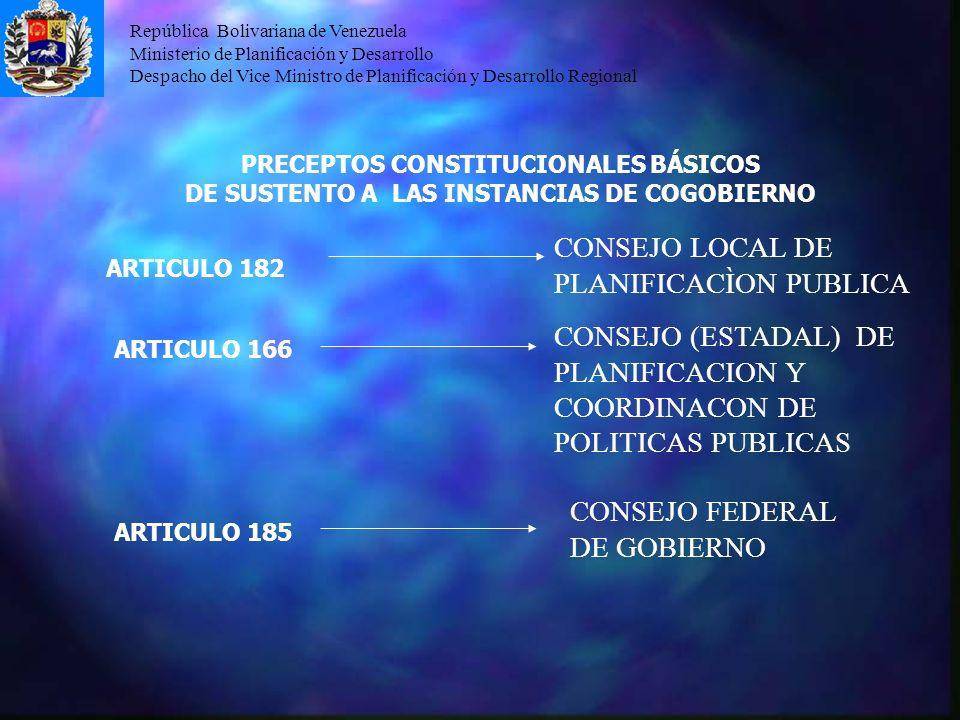 República Bolivariana de Venezuela Ministerio de Planificación y Desarrollo Despacho del Vice Ministro de Planificación y Desarrollo Regional PRECEPTO