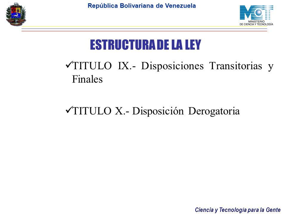 Ciencia y Tecnología para la Gente República Bolivariana de Venezuela ESTRUCTURA DE LA LEY TITULO VII.- Del Fondo Nacional de Ciencia, Tecnologia e In