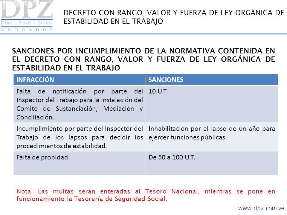 www.dpz.com.ve DECRETO CON RANGO, VALOR Y FUERZA DE LEY ORGÁNICA DE ESTABILIDAD EN EL TRABAJO SANCIONES POR INCUMPLIMIENTO DE LA NORMATIVA CONTENIDA E
