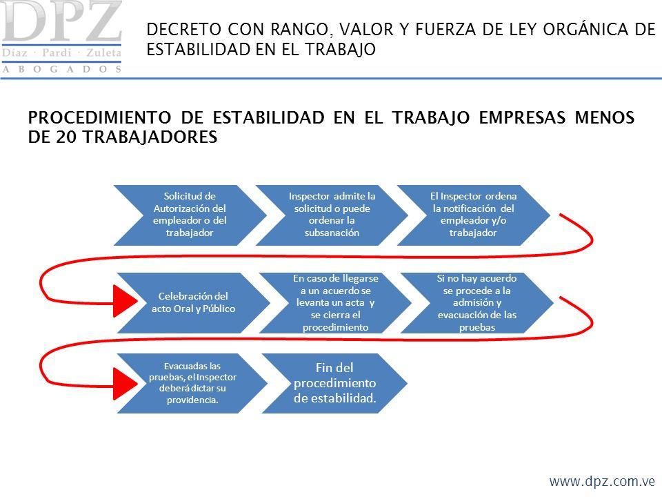 www.dpz.com.ve DECRETO CON RANGO, VALOR Y FUERZA DE LEY ORGÁNICA DE ESTABILIDAD EN EL TRABAJO PROCEDIMIENTO DE ESTABILIDAD EN EL TRABAJO.