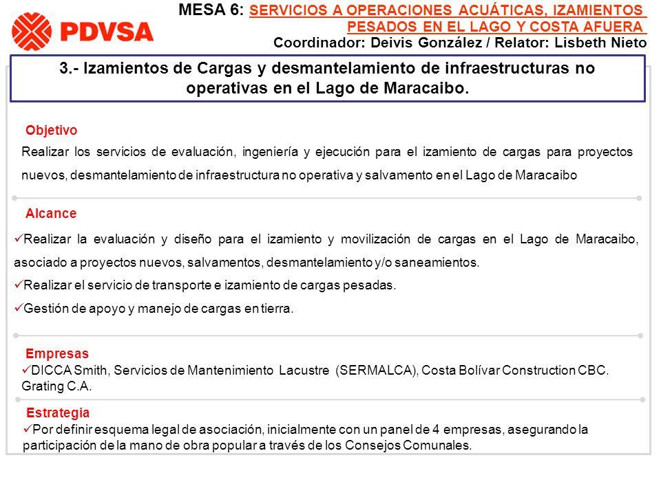 3.- Izamientos de Cargas y desmantelamiento de infraestructuras no operativas en el Lago de Maracaibo. Realizar los servicios de evaluación, ingenierí