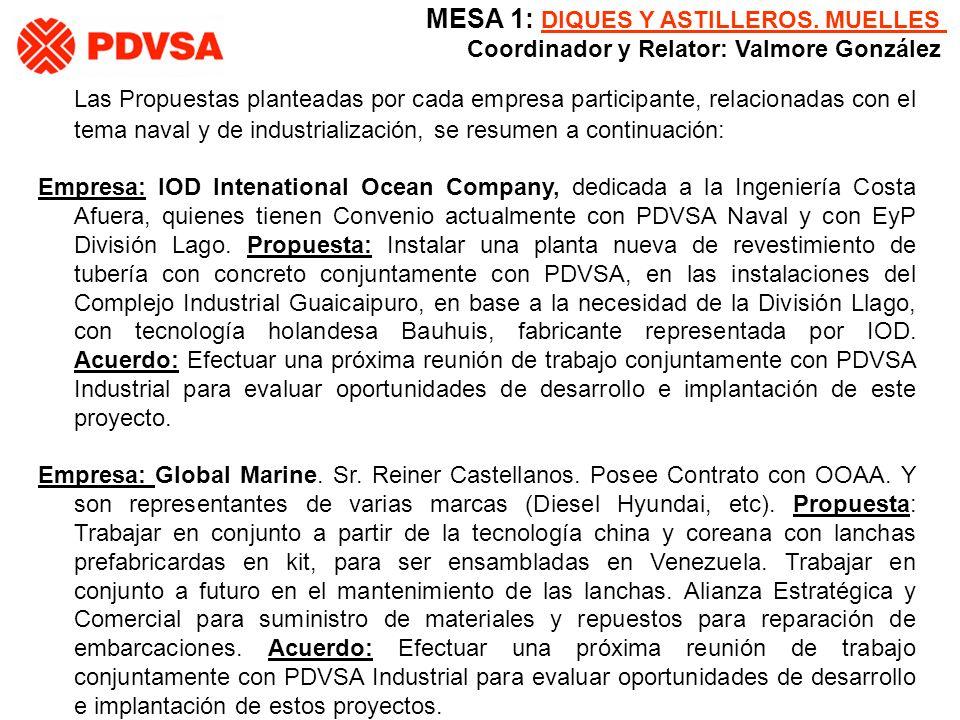 Las Propuestas planteadas por cada empresa participante, relacionadas con el tema naval y de industrialización, se resumen a continuación: Empresa: IO