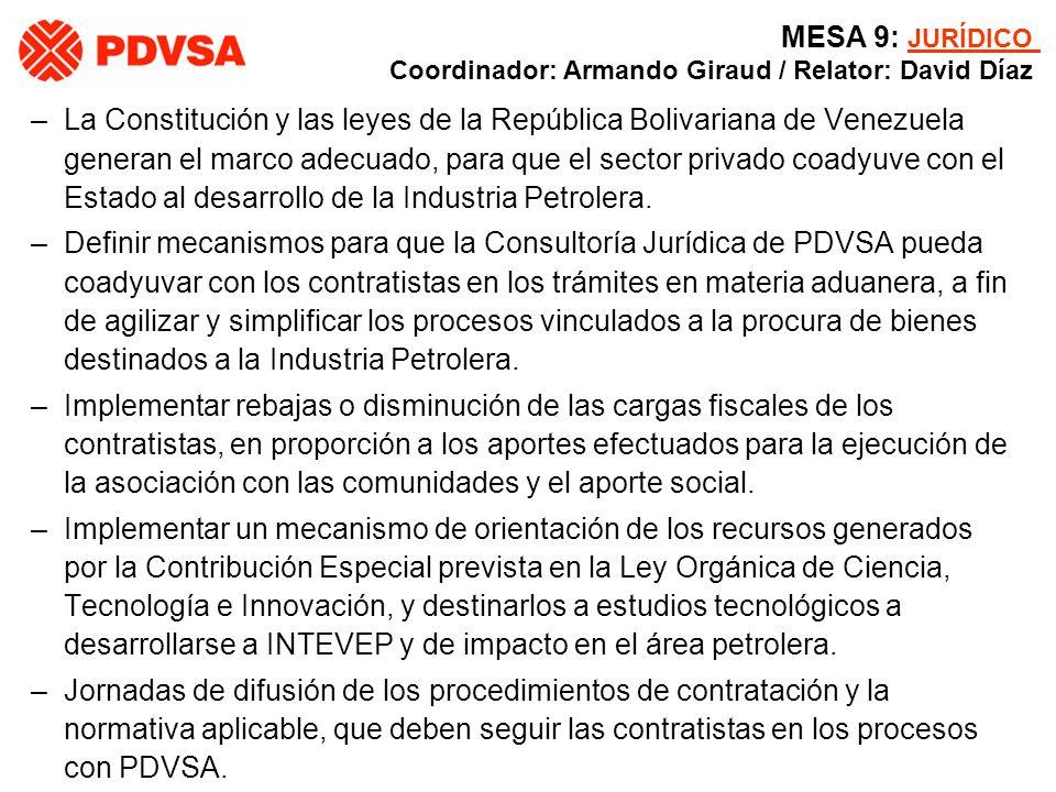 MESA 9: JURÍDICO Coordinador: Armando Giraud / Relator: David Díaz –La Constitución y las leyes de la República Bolivariana de Venezuela generan el ma