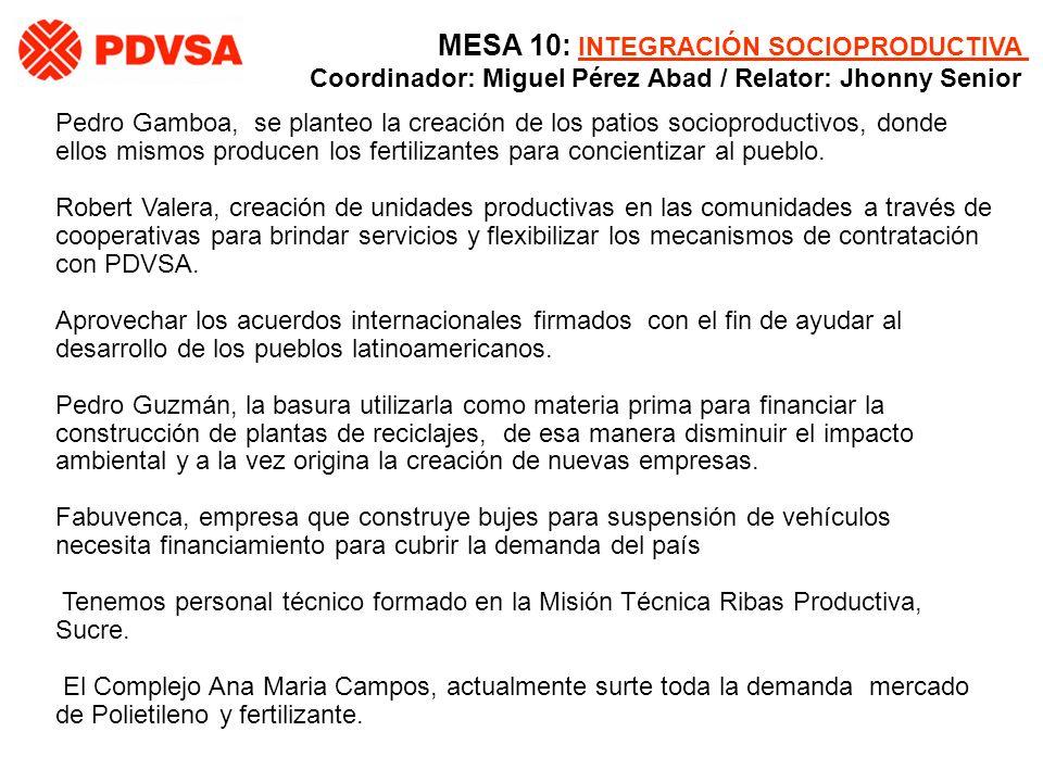 Pedro Gamboa, se planteo la creación de los patios socioproductivos, donde ellos mismos producen los fertilizantes para concientizar al pueblo. Robert