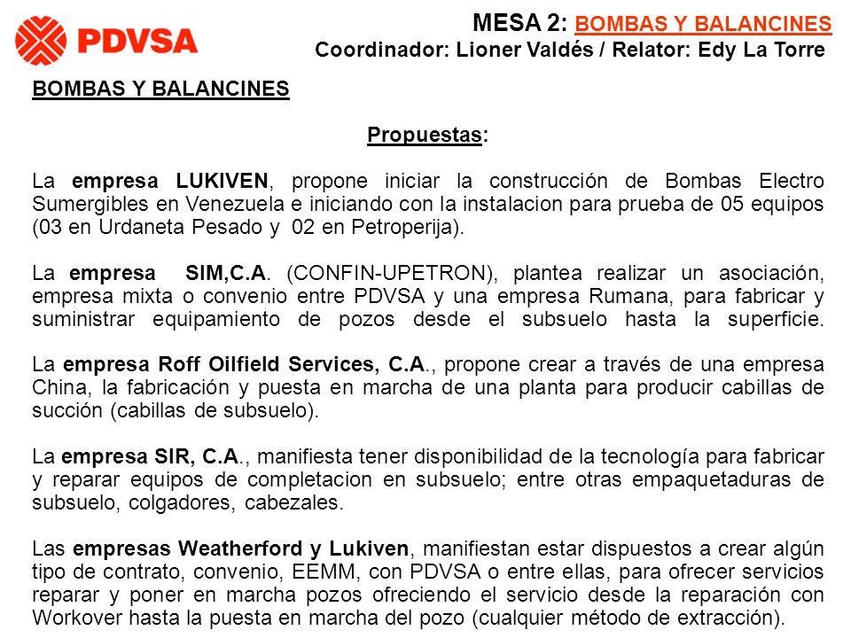 BOMBAS Y BALANCINES Propuestas: La empresa LUKIVEN, propone iniciar la construcción de Bombas Electro Sumergibles en Venezuela e iniciando con la inst