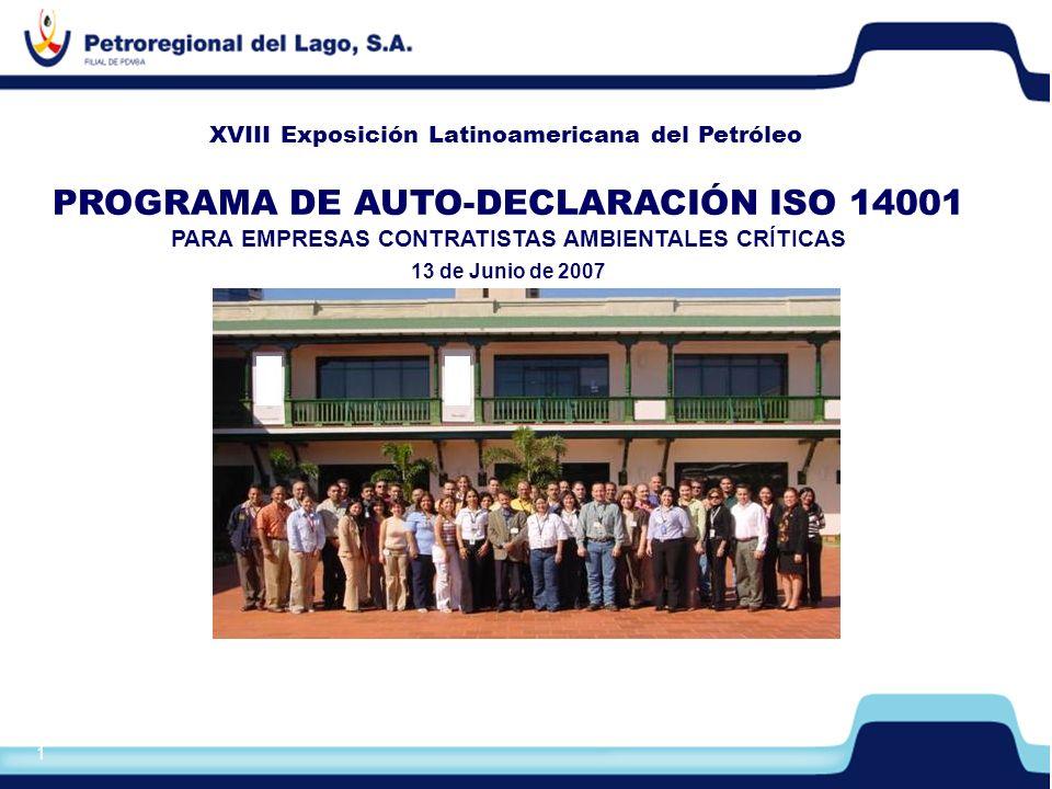 2 1.Objetivos del Programa de Auto-Declaración ISO 14001 2.Descripción del Proceso 3.Cláusulas Contractuales Ambientales 4.Requisitos del Programa de Auto-Declaración ISO 14001 Contenido