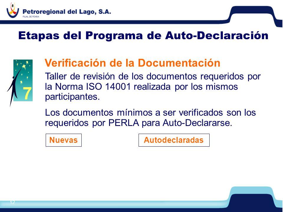 13 Etapas del Programa de Auto-Declaración Declaración de Conformidad ISO 14001 Declaración emitida por la Empresa Contratista, en base a las condiciones y modelo de las Normas ISO 17050-1 y 17050-2.