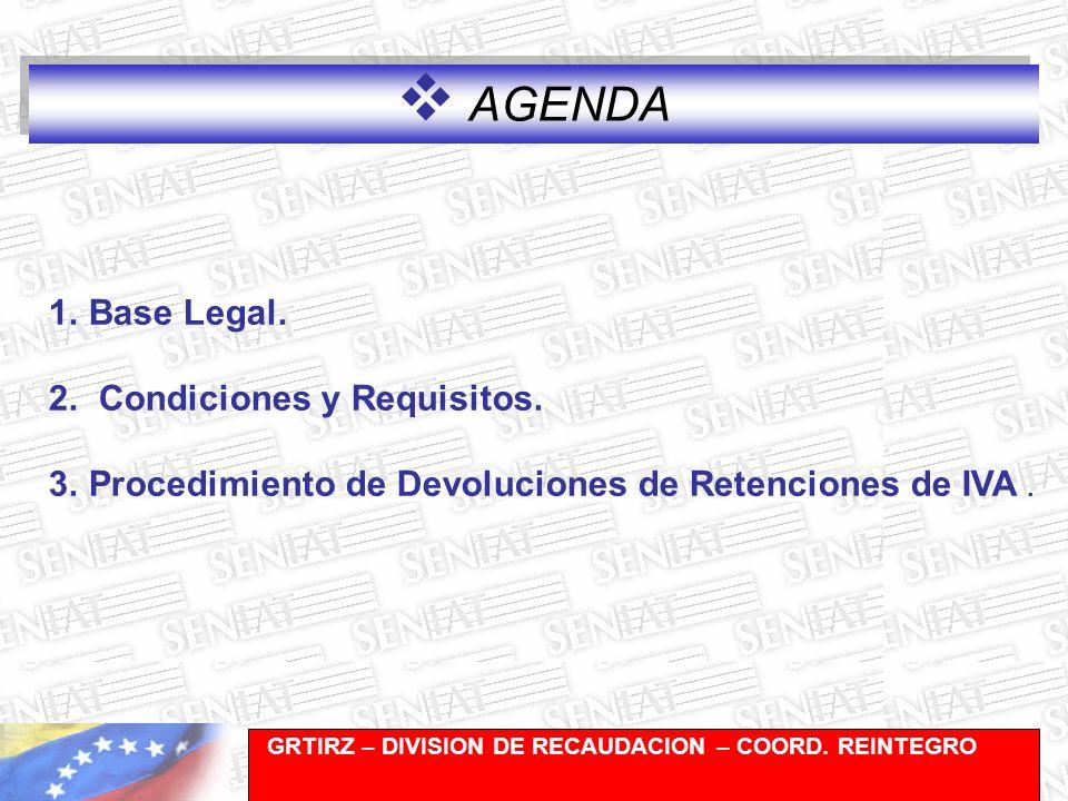 Gerencia de Recaudación-División de Registro y Cuentas Corrientes AGENDA 1.Base Legal.