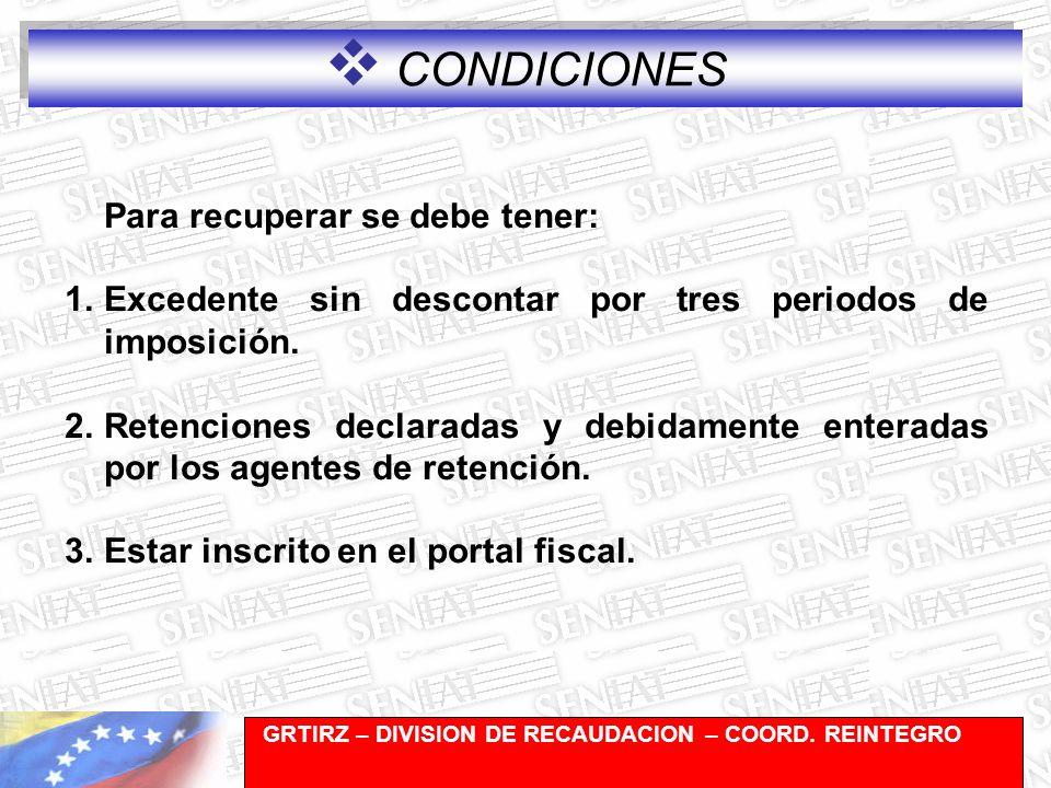 Gerencia de Recaudación-División de Registro y Cuentas Corrientes Para recuperar se debe tener: 1.Excedente sin descontar por tres periodos de imposición.