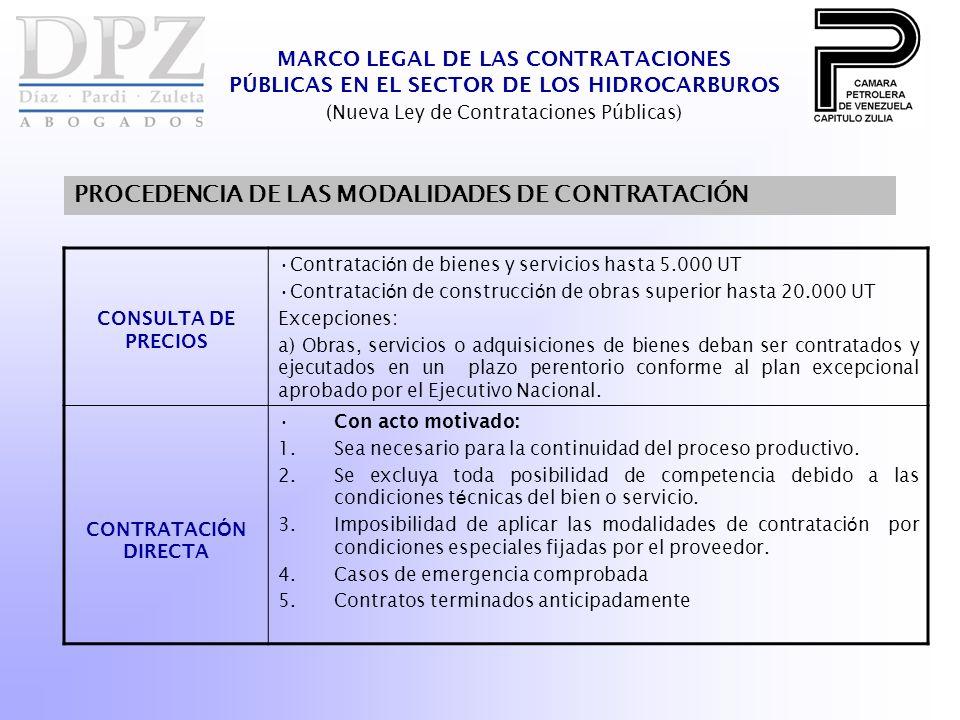 MARCO LEGAL DE LAS CONTRATACIONES PÚBLICAS EN EL SECTOR DE LOS HIDROCARBUROS (Nueva Ley de Contrataciones Públicas) PROCEDENCIA DE LAS MODALIDADES DE CONTRATACIÓN CONSULTA DE PRECIOS Contrataci ó n de bienes y servicios hasta 5.000 UT Contrataci ó n de construcci ó n de obras superior hasta 20.000 UT Excepciones: a) Obras, servicios o adquisiciones de bienes deban ser contratados y ejecutados en un plazo perentorio conforme al plan excepcional aprobado por el Ejecutivo Nacional.
