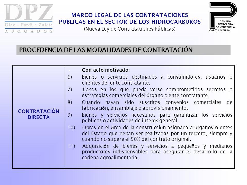 MARCO LEGAL DE LAS CONTRATACIONES PÚBLICAS EN EL SECTOR DE LOS HIDROCARBUROS (Nueva Ley de Contrataciones Públicas) PROCEDENCIA DE LAS MODALIDADES DE CONTRATACIÓN CONTRATACI Ó N DIRECTA Con acto motivado: 6)Bienes o servicios destinados a consumidores, usuarios o clientes del ente contratante.