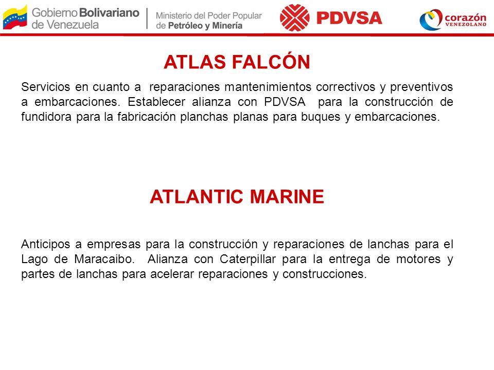 ATLAS FALCÓN Servicios en cuanto a reparaciones mantenimientos correctivos y preventivos a embarcaciones. Establecer alianza con PDVSA para la constru
