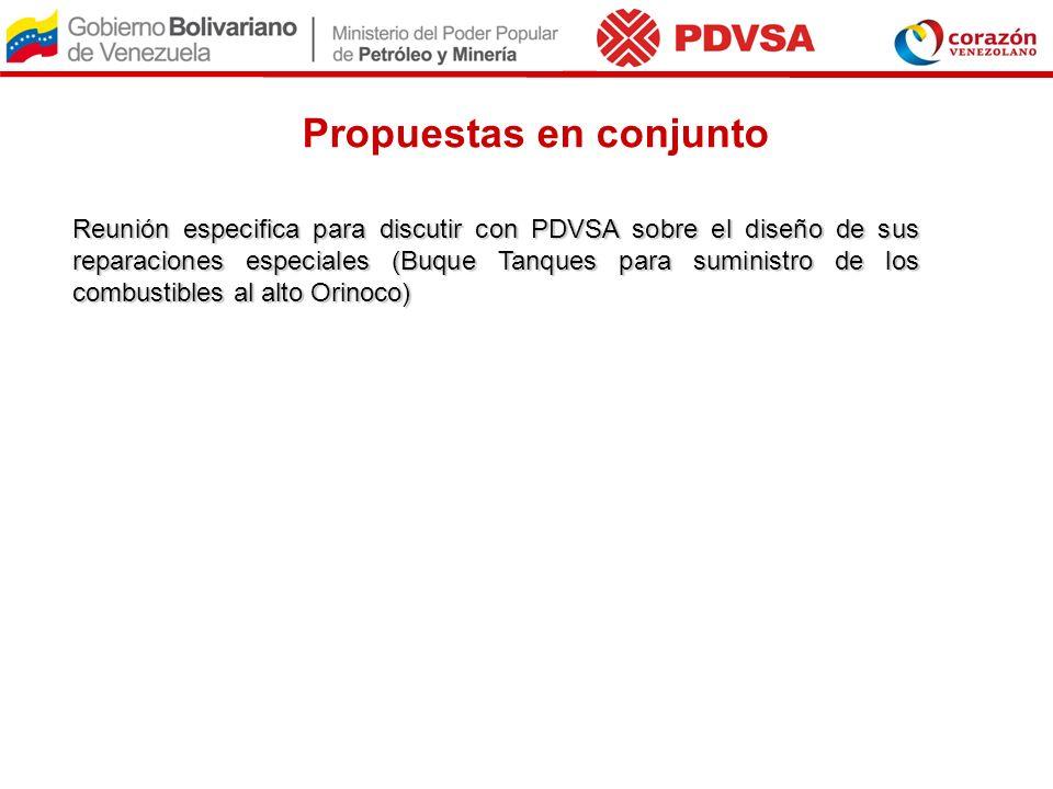 Propuestas en conjunto Reunión especifica para discutir con PDVSA sobre el diseño de sus reparaciones especiales (Buque Tanques para suministro de los