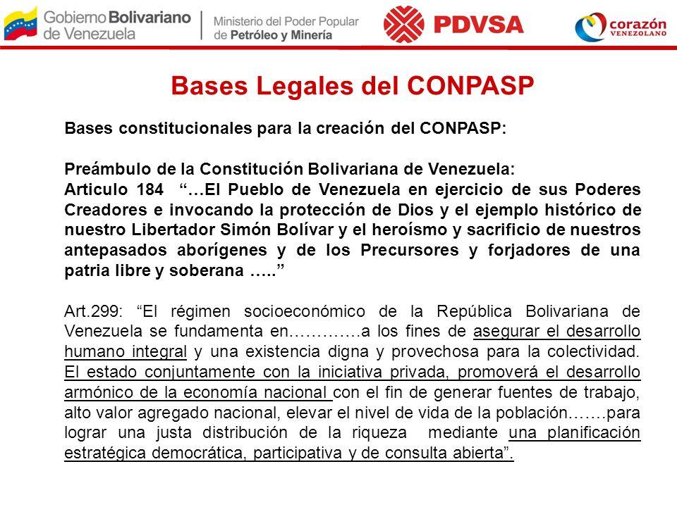Bases Legales del CONPASP Bases constitucionales para la creación del CONPASP: Preámbulo de la Constitución Bolivariana de Venezuela: Articulo 184 …El
