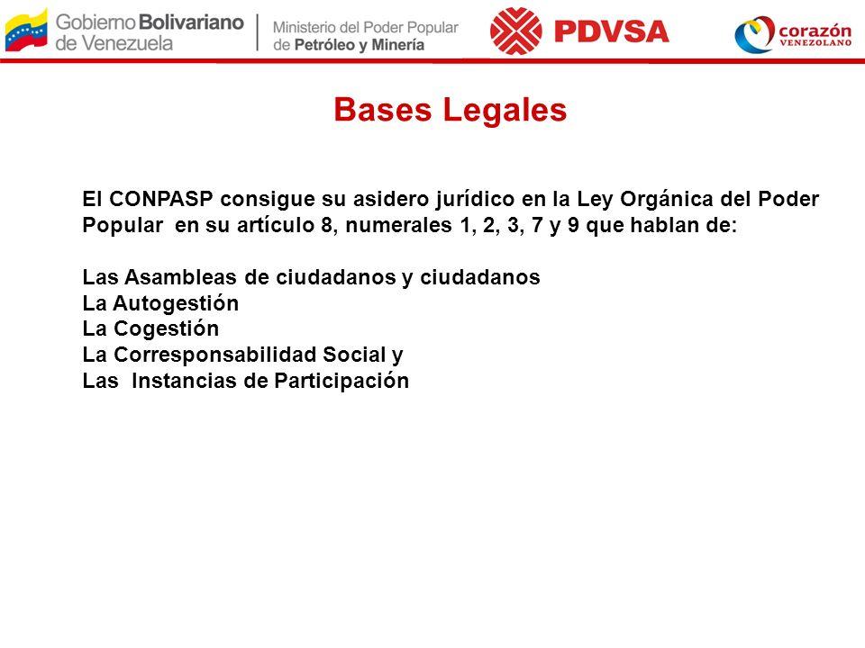 Bases Legales El CONPASP consigue su asidero jurídico en la Ley Orgánica del Poder Popular en su artículo 8, numerales 1, 2, 3, 7 y 9 que hablan de: L