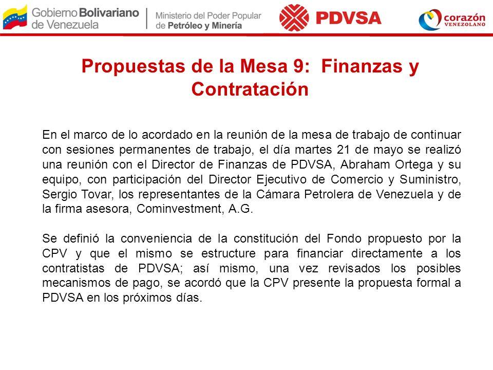 Propuestas de la Mesa 9: Finanzas y Contratación En el marco de lo acordado en la reunión de la mesa de trabajo de continuar con sesiones permanentes