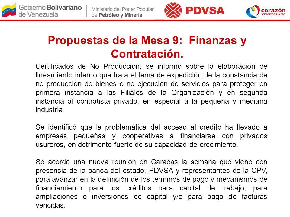 Propuestas de la Mesa 9: Finanzas y Contratación. Certificados de No Producción: se informo sobre la elaboración de lineamiento interno que trata el t