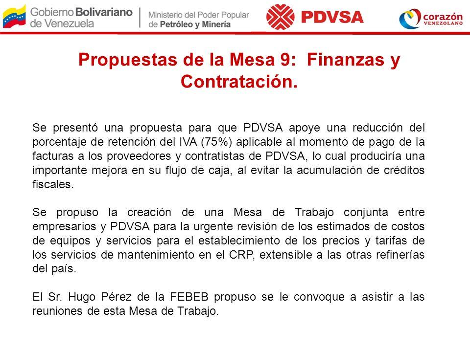 Propuestas de la Mesa 9: Finanzas y Contratación. Se presentó una propuesta para que PDVSA apoye una reducción del porcentaje de retención del IVA (75