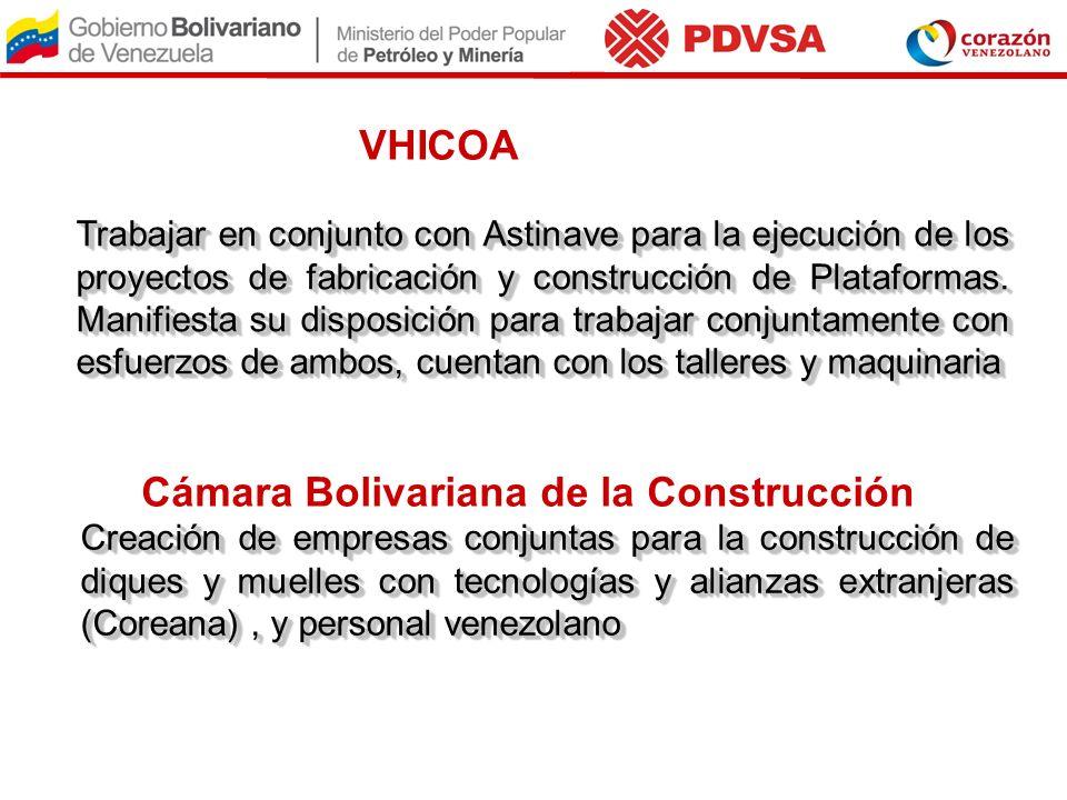 VHICOA Trabajar en conjunto con Astinave para la ejecución de los proyectos de fabricación y construcción de Plataformas. Manifiesta su disposición pa