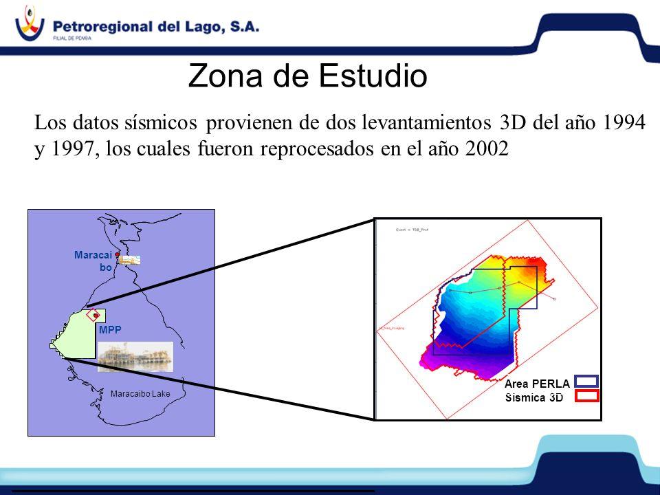 Zona de Estudio MPP Maracai bo Maracaibo Lake Sísmica 3D Area PERLA Los datos sísmicos provienen de dos levantamientos 3D del año 1994 y 1997, los cua