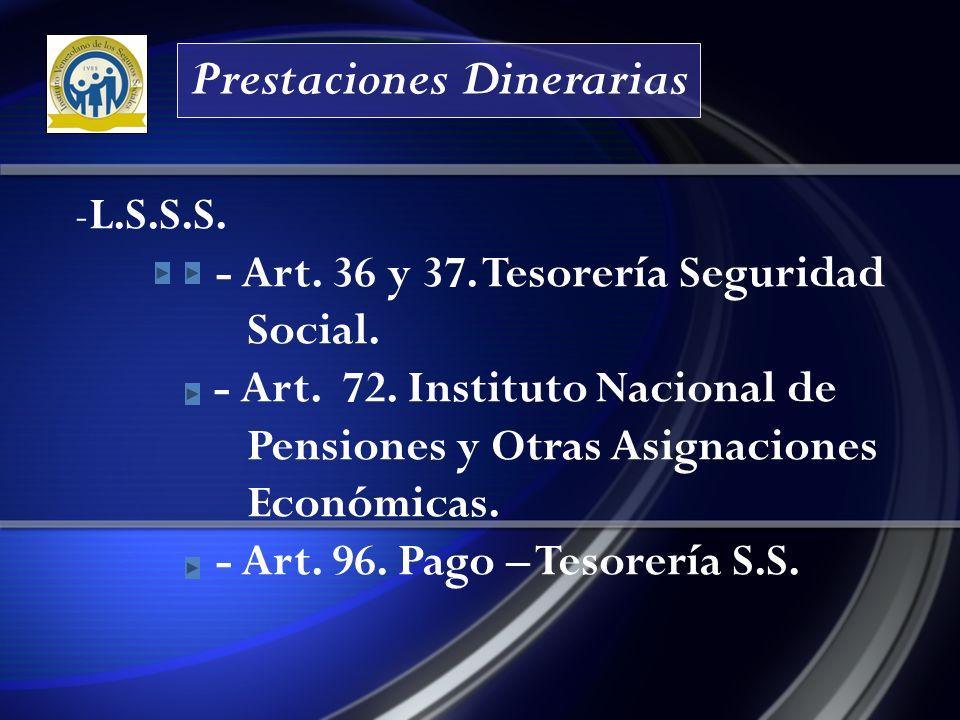 Prestaciones Dinerarias -L.S.S.S.- Art. 36 y 37. Tesorería Seguridad Social.