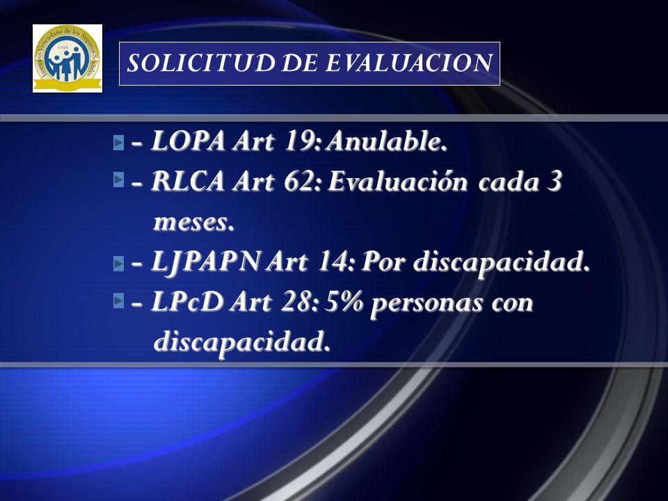 - LOPA Art 19: Anulable.- RLCA Art 62: Evaluación cada 3 meses.