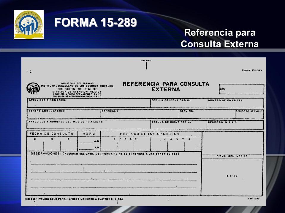 Referencia para Consulta Externa FORMA 15-289