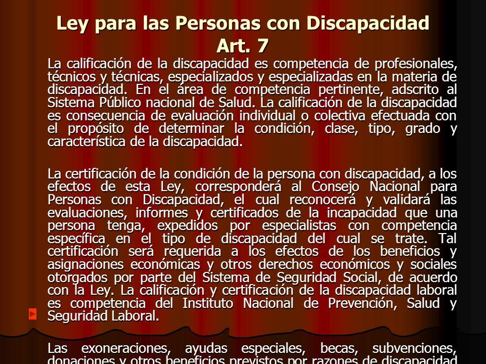 Ley para las Personas con Discapacidad Art.