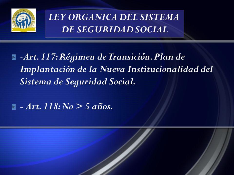 LEY ORGANICA DEL SISTEMA DE SEGURIDAD SOCIAL - Art.