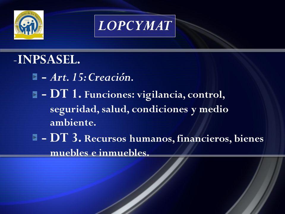LOPCYMAT - INPSASEL.- Art. 18: Funciones. - 15: Calificar origen laboral.