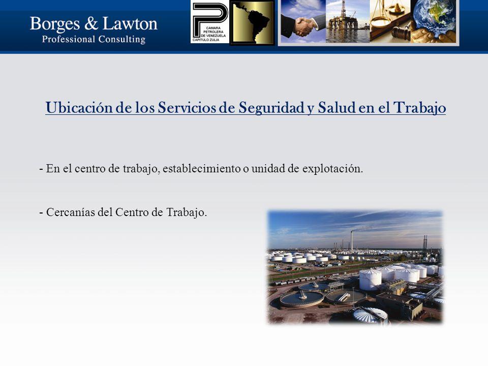 Ubicación de los Servicios de Seguridad y Salud en el Trabajo - En el centro de trabajo, establecimiento o unidad de explotación.