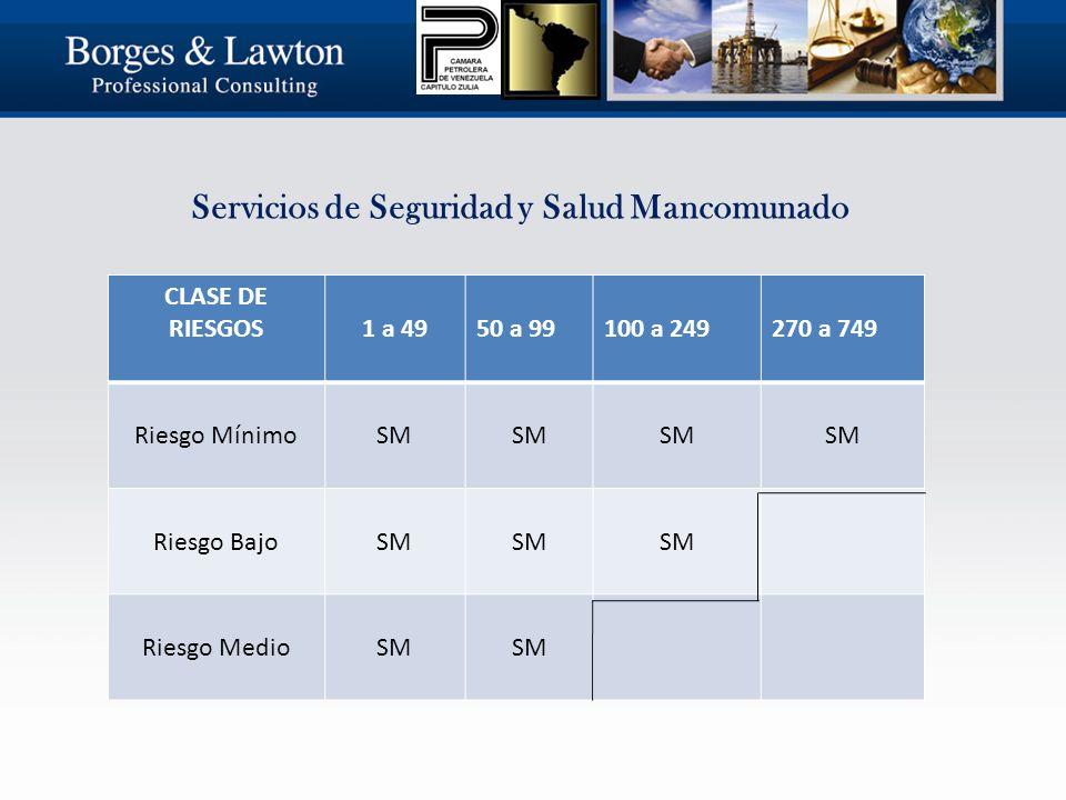 Servicios de Seguridad y Salud Mancomunado CLASE DE RIESGOS 1 a 4950 a 99100 a 249270 a 749 Riesgo MínimoSM Riesgo BajoSM Riesgo MedioSM