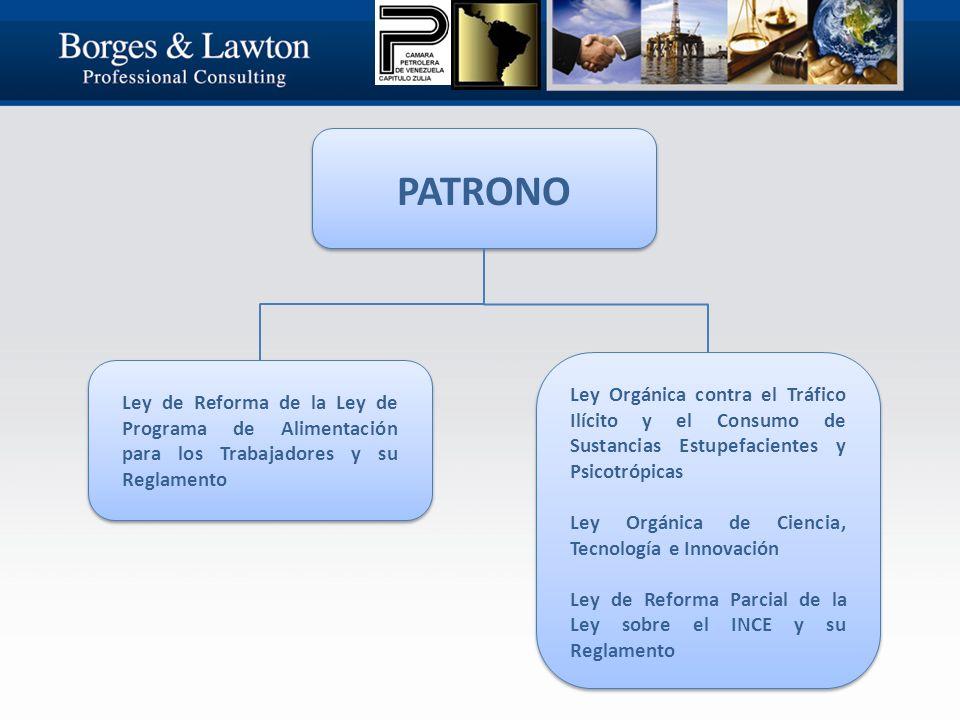 PATRONO Ley de Reforma de la Ley de Programa de Alimentación para los Trabajadores y su Reglamento Ley Orgánica contra el Tráfico Ilícito y el Consumo de Sustancias Estupefacientes y Psicotrópicas Ley Orgánica de Ciencia, Tecnología e Innovación Ley de Reforma Parcial de la Ley sobre el INCE y su Reglamento