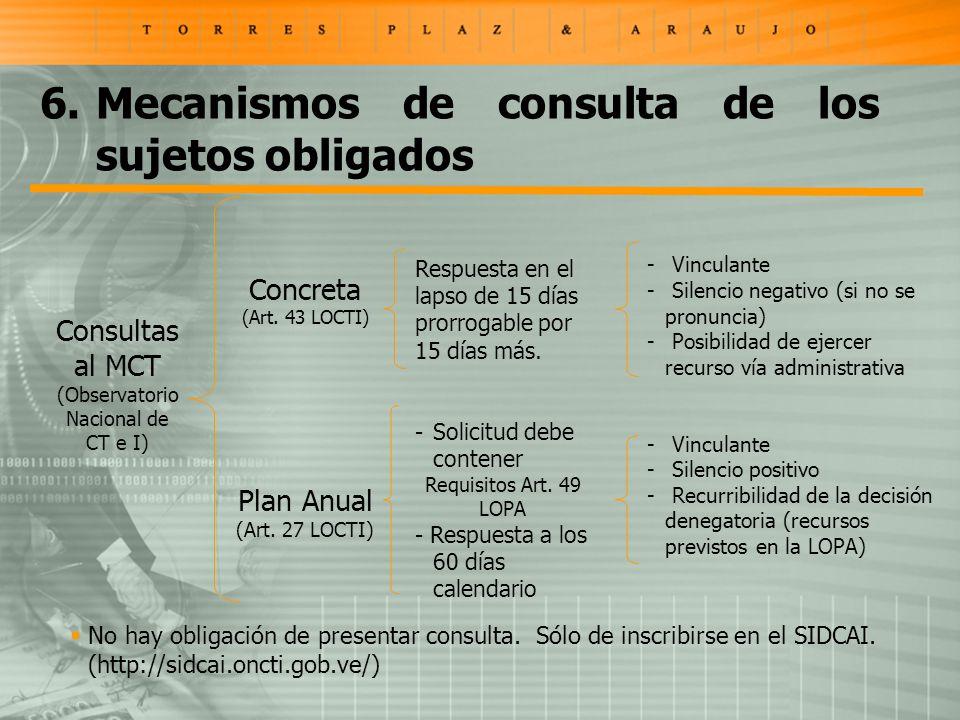 Consultas al MCT (Observatorio Nacional de CT e I) Concreta (Art. 43 LOCTI) Plan Anual (Art. 27 LOCTI) Respuesta en el lapso de 15 días prorrogable po