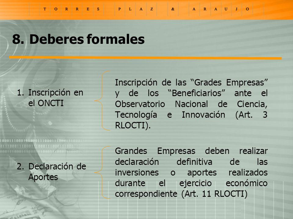 Inscripción de las Grades Empresas y de los Beneficiarios ante el Observatorio Nacional de Ciencia, Tecnología e Innovación (Art.