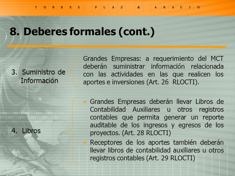 Grandes Empresas: a requerimiento del MCT deberán suministrar información relacionada con las actividades en las que realicen los aportes e inversiones (Art.