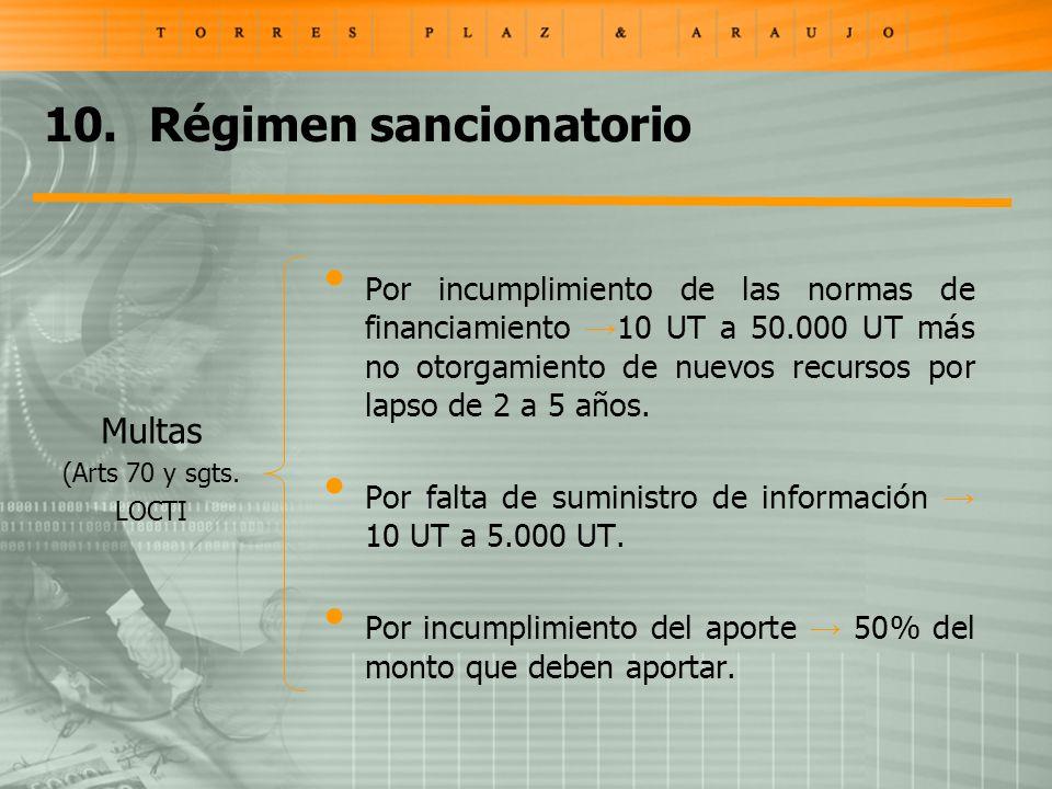 10.Régimen sancionatorio Multas (Arts 70 y sgts. LOCTI Por incumplimiento de las normas de financiamiento 10 UT a 50.000 UT más no otorgamiento de nue