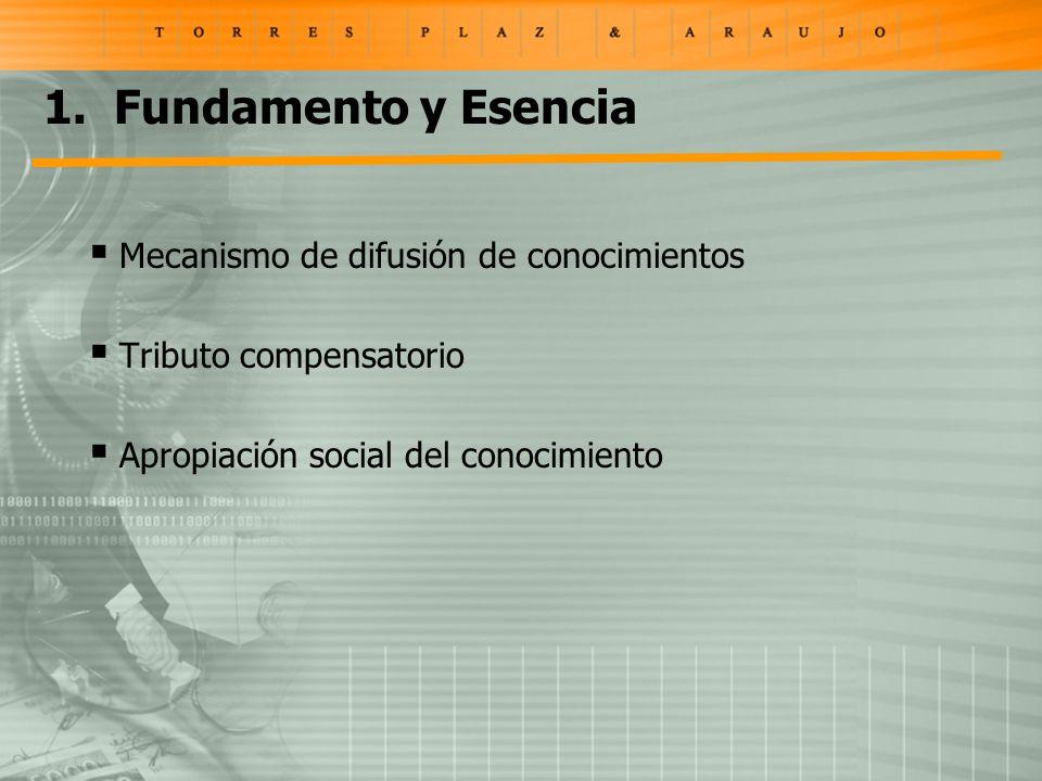1. Fundamento y Esencia Mecanismo de difusión de conocimientos Tributo compensatorio Apropiación social del conocimiento