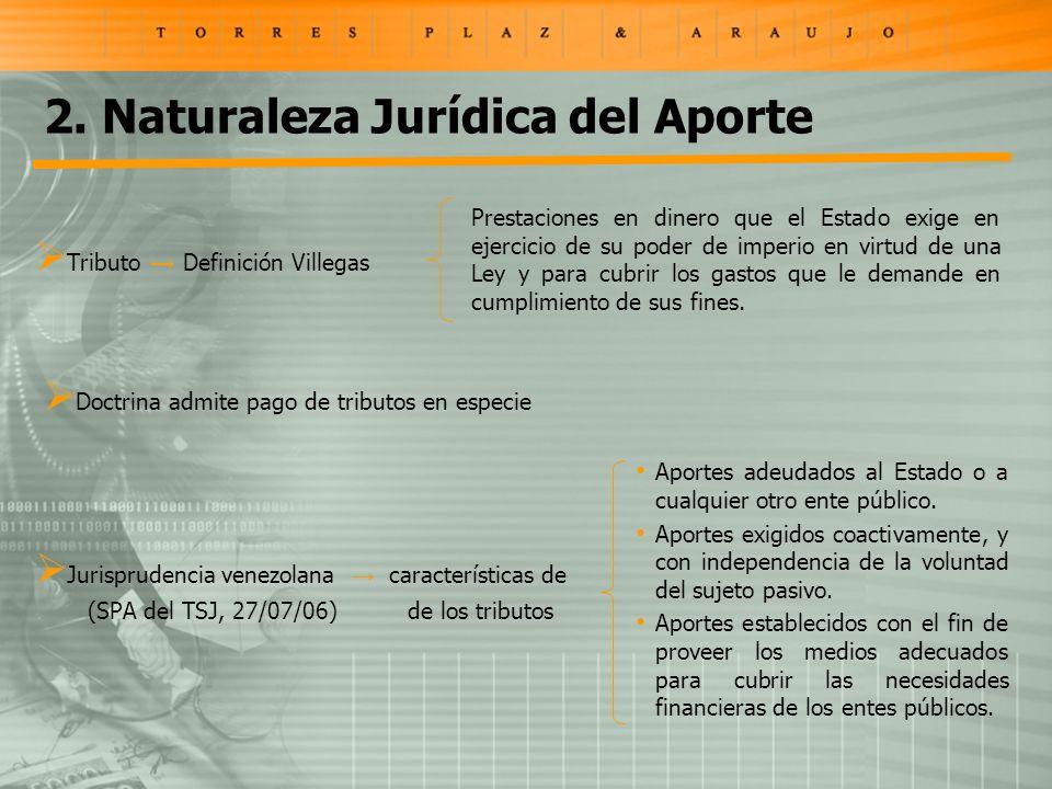 2. Naturaleza Jurídica del Aporte Tributo Definición Villegas Prestaciones en dinero que el Estado exige en ejercicio de su poder de imperio en virtud