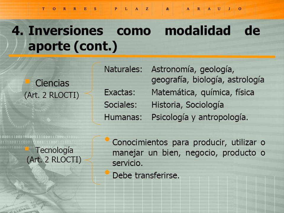 Ciencias (Art. 2 RLOCTI) Tecnología (Art.