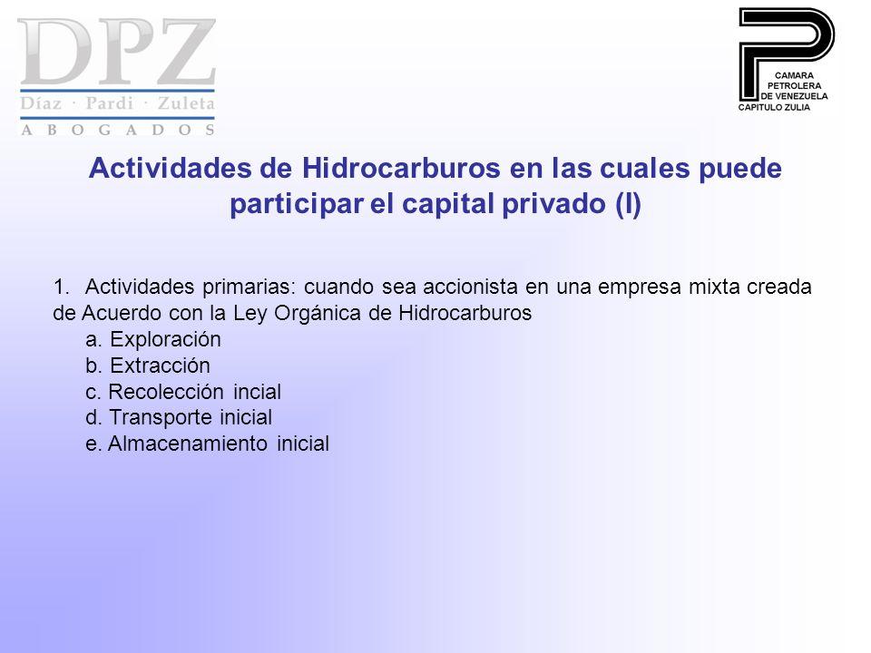 Actividades de Hidrocarburos en las cuales puede participar el capital privado (I) 1.Actividades primarias: cuando sea accionista en una empresa mixta creada de Acuerdo con la Ley Orgánica de Hidrocarburos a.