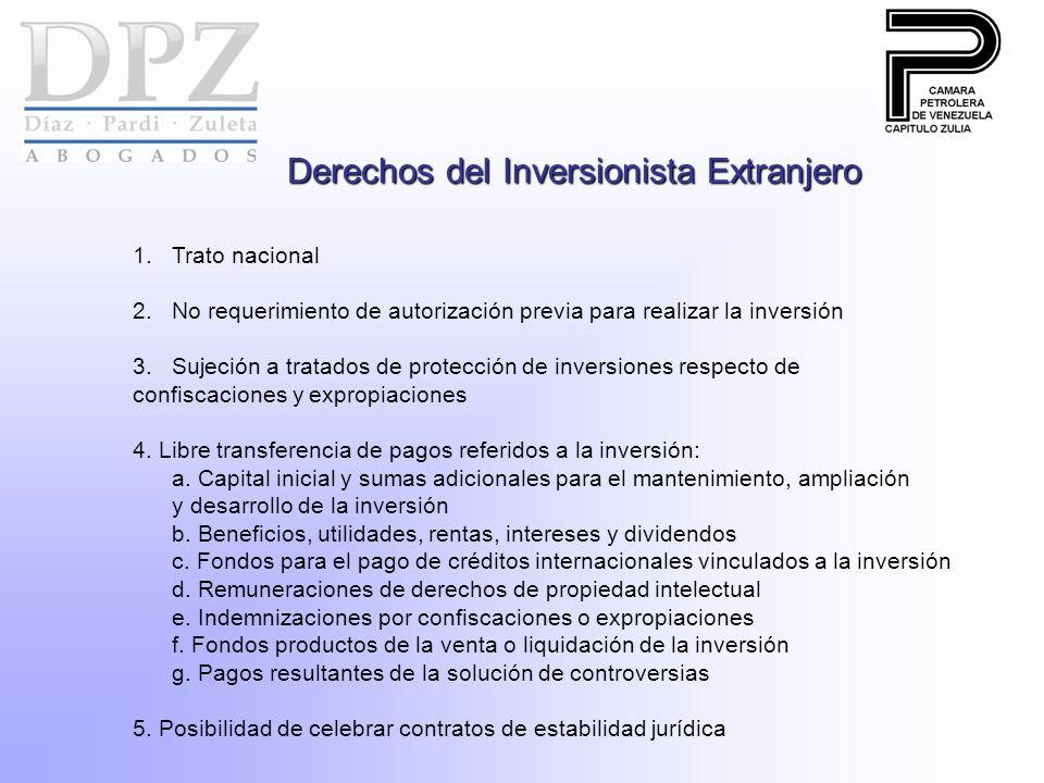 Derechos del Inversionista Extranjero 1.Trato nacional 2.No requerimiento de autorización previa para realizar la inversión 3.Sujeción a tratados de protección de inversiones respecto de confiscaciones y expropiaciones 4.