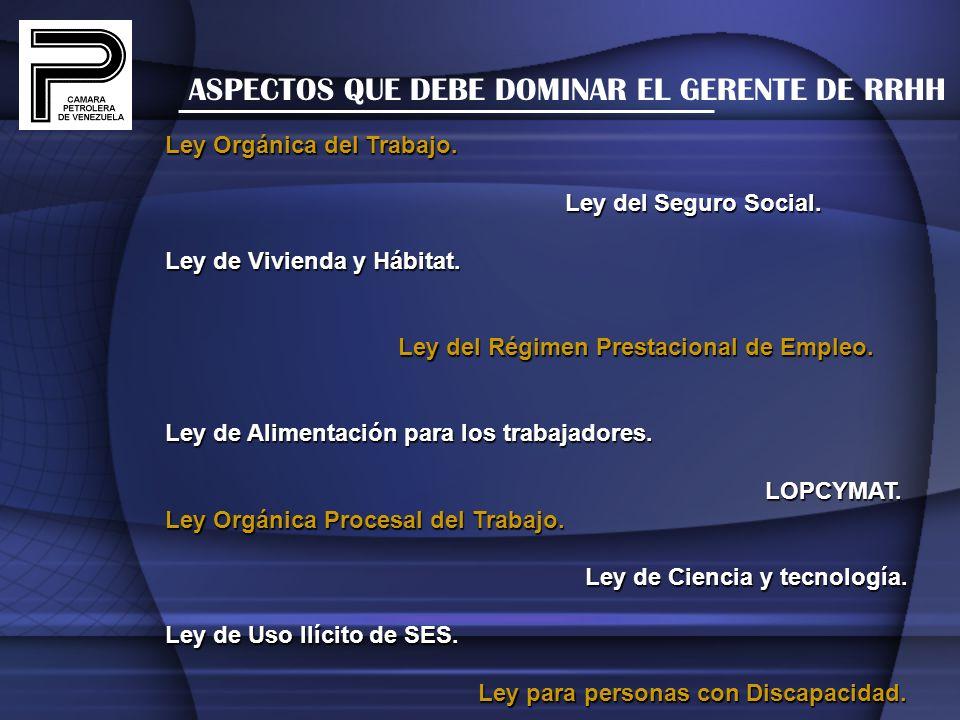 ASPECTOS QUE DEBE DOMINAR EL GERENTE DE RRHH Ley Orgánica del Trabajo. Ley del Seguro Social. Ley del Seguro Social. Ley de Vivienda y Hábitat. Ley de