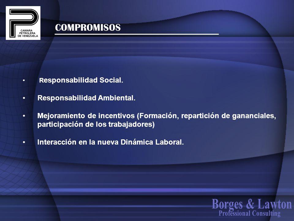 COMPROMISOS R esponsabilidad Social. Responsabilidad Ambiental. Mejoramiento de incentivos (Formación, repartición de gananciales, participación de lo