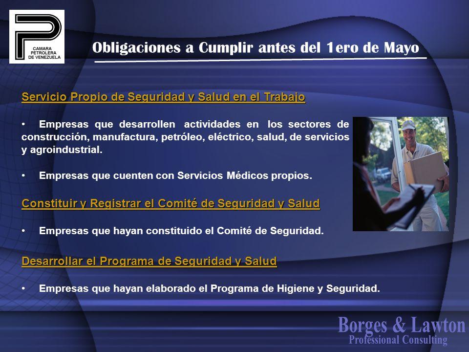 Obligaciones a Cumplir antes del 1ero de Mayo Servicio Propio de Seguridad y Salud en el Trabajo Empresas que desarrollen actividades en los sectores