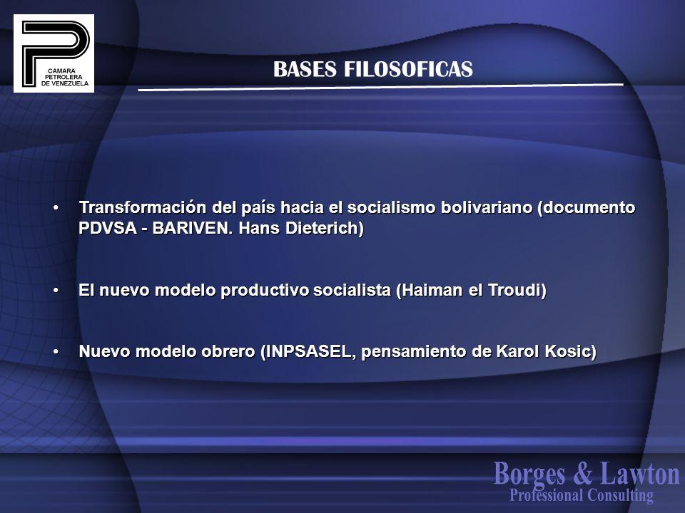 BASES FILOSOFICAS Transformación del país hacia el socialismo bolivariano (documento PDVSA - BARIVEN. Hans Dieterich)Transformación del país hacia el