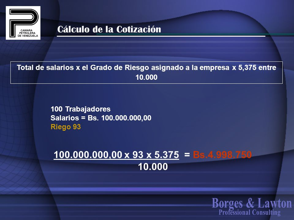 Cálculo de la Cotización Total de salarios x el Grado de Riesgo asignado a la empresa x 5,375 entre 10.000 100 Trabajadores Salarios = Bs. 100.000.000