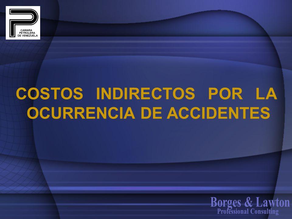 COSTOS INDIRECTOS POR LA OCURRENCIA DE ACCIDENTES