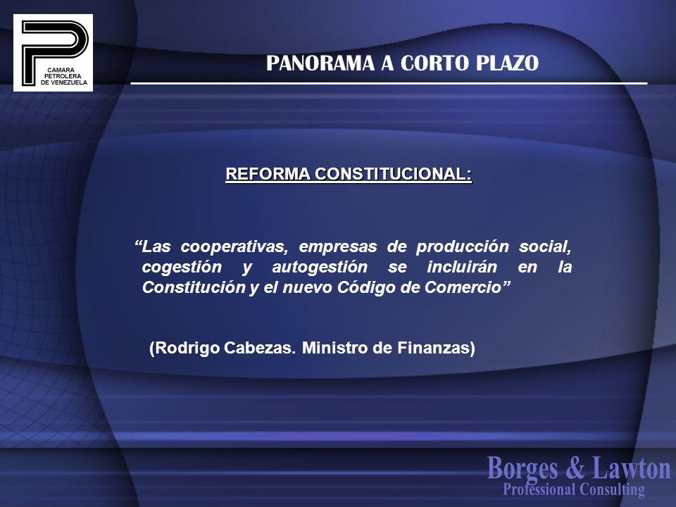 PANORAMA A CORTO PLAZO Las cooperativas, empresas de producción social, cogestión y autogestión se incluirán en la Constitución y el nuevo Código de C